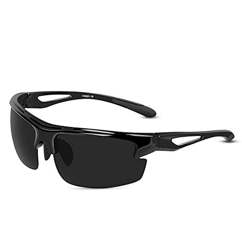 CHEREEKI Occhiali da Sole Sportivi , Occhiali da Sole Polarizzati con Protezione 100% UVA/UV400, Occhiali da Sole Sportivi per Ciclismo all'aperto, Corsa, Occhiali da Sole da Guida per Uomo Donna