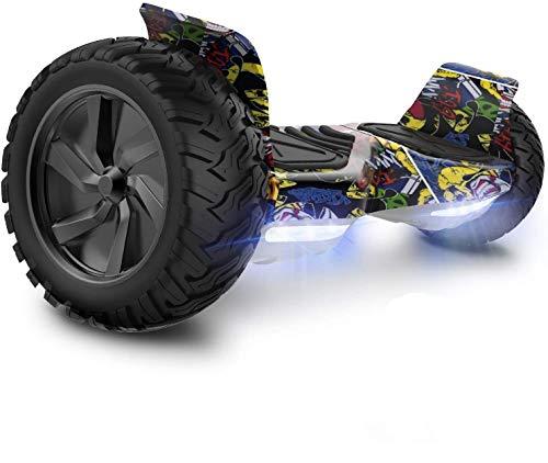 GeekMe Hoverboards Scooter Elettrico Fuoristrada Scooter Auto bilanciamento con Potente Motore LED luci Bluetooth per Adulti e Bambini. 8,5 Pollici