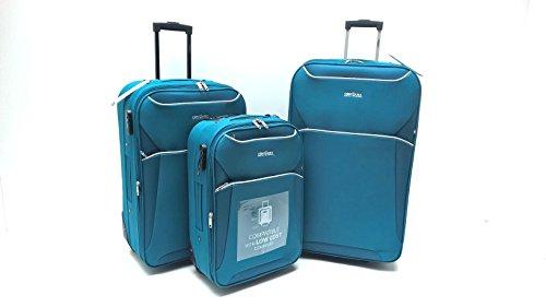 Set 3 Trolley Clacson Semirigidi 2 ruote Resistente Economico Espandibile con Trolley Bagaglio a Mano idoneo Ryanair cm.55x40x20 Set valige bagaglio cabina (Petrolio)