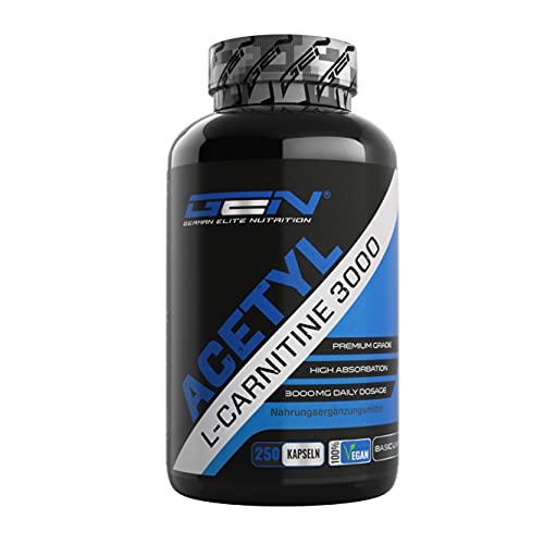 Acetyl L-Carnitine 3000 con 250 capsule - 3000 mg per porzione giornaliera - Premium: L-Carnitina in forma acetilica - Altamente dosato - Vegan