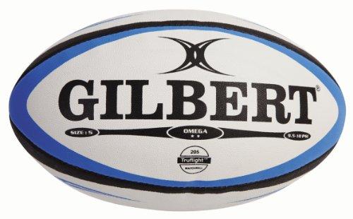 Gilbert, Palla da Rugby Uomo Omega Match, Multicolore (Blau/Schwarz), Taglia 5