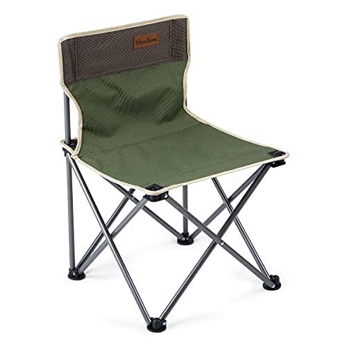 Booxihome - Sedia pieghevole da campeggio, pieghevole, con borsa per il trasporto, ultraleggera, sedia da pesca, per viaggi, escursionismo, barbecue e giardino, colore: verde e marrone