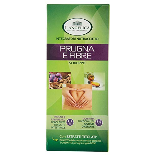 L'Angelica Sciroppo Prugna e Fibre, integratore Alimentare, Favorisce la Regolarità Intestinale, senza Lattosio, senza Glutine, Vegan, 250ml