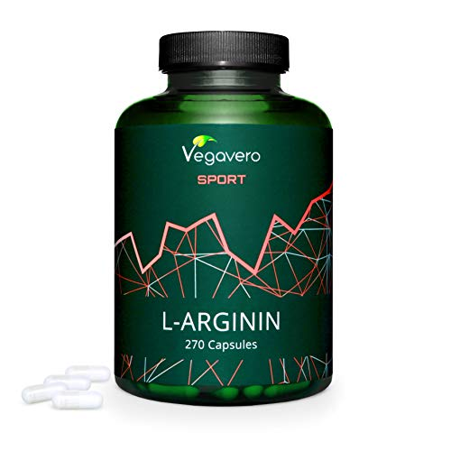 ARGININA Vegavero® Sport   700 mg per capsula   SENZA ADDITIVI   270 capsule per 3 MESI   PURA al 99%   Vegan