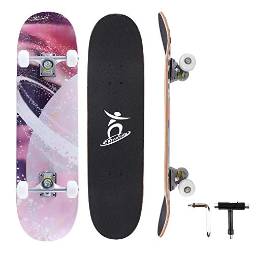 Colmanda Skateboard Completo 31 Inch, Skateboard a Doppio Calcio in Acero Canadese a 7 Strati, Skateboard in Legno con Cuscinetti a Sfera ABEC-7 e Ruote PU per Principiante, Bambini e Adulti