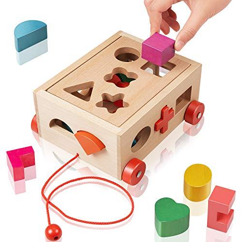 EXTSUD Gioco Forme a Incastro per Bambini in Legno Giocattolo Educativo Cubo Legno Giochi per Bimbi Forme Geometriche Blocchi Tridimensionali Classico Gioco Didattico Prima Infanzia