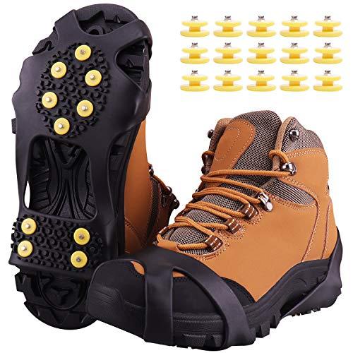 Fesoar Ramponi,Ice Tacchetti Trazione Antiscivolo su Scarpe/Stivali 15 Borchie Neve Ghiaccio Ramponi Tacchetti Spikes(Nero, M)