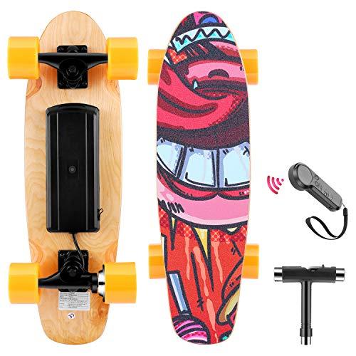 WOOKRAYS Skateboard Elettrico con Telecomando, Motore da 350W, velocità Massima 20 KM/H, Regolazione a 3 velocità, E-Cruiser Skateboard in Acero 7 Strati (Arancia)