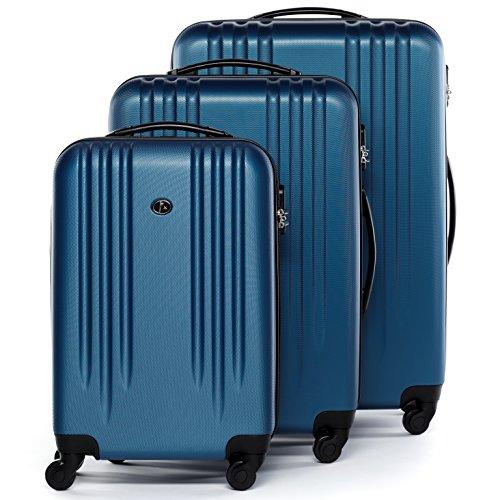 FERGÉ set di 3 valigie viaggio Marseille - bagaglio rigido dure leggera 3 pezzi valigetta 4 ruote blu