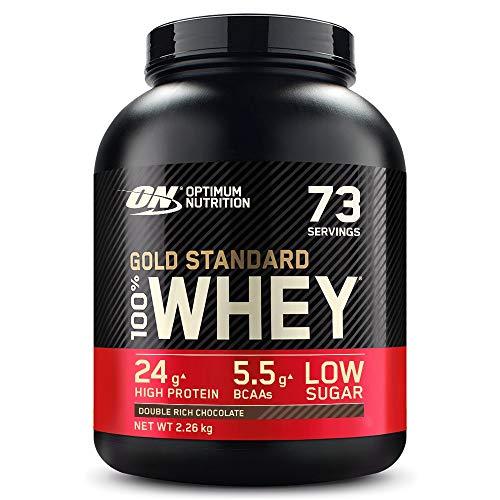 Optimum Nutrition Gold Standard 100% Whey Proteine in Polvere con Proteine Isolat ed Aminoacidi per la Massa Muscolare, Doppio Cioccolato, 73 Porzioni, 2.26 Kg, il Packaging Potrebbe Variare