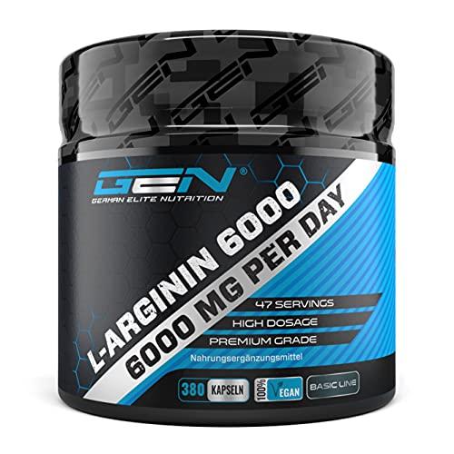 L-Arginina - 380 capsule vegane - 6000 mg di L-Arginina HCL vegetale per porzione giornaliera (= 4980 mg di L-Arginina pura) - Aminoacido - Altamente dosato