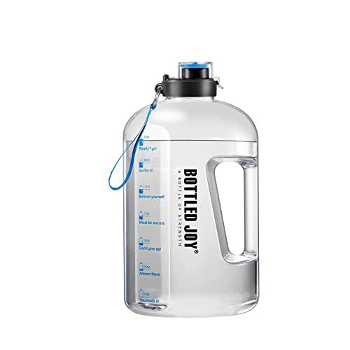 GHONLZIN Bottiglia d Acqua, Water Bottle 1 Gallone Borraccia Sportiva Acqua con Indicatore del Tempo Bottiglia d'Acqua Senza BPA per Corsa, Ciclismo, Lavoro e Palestra