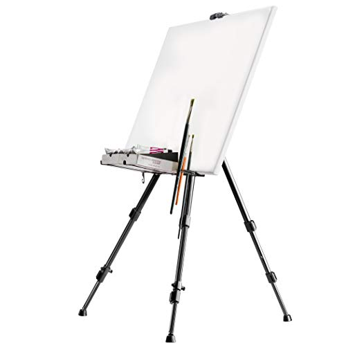 Walimex pro Cavalletto in alluminio L 165 cm - Cavalletto con ampio campo di applicazione per tela fino a 122 cm e 4 cm di profondità, solo 1,06 kg, supporto per colori, pennelli, con borsa