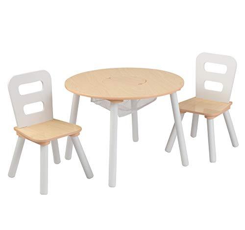 KidKraft 27027 Set tavolo rotondo con 2 sedie in legno, mobili per camera da letto e sala giochi per bambini, Naturale e bianco