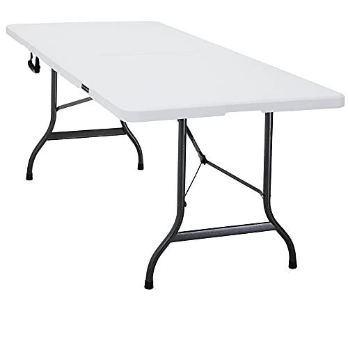 CASARIA Monzana Tavolo da Giardino Tavolo da Campeggio Look PolyRattan 183x76 cm Tavolino Pieghevole Esterno Bianco