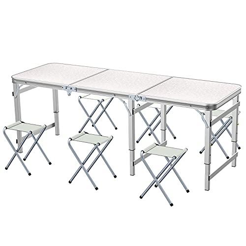 Sunflo Tavolo Pieghevole 6 Piedi con 6 sedie Tavolo da Campeggio Regolabile in Altezza e Altezza Tavolo da Picnic Portatile da Interno e da Esterno per Barbecue con Maniglia