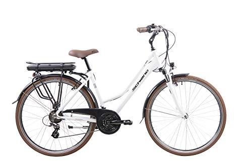 F.lli Schiano E-Ride Bicicletta Elettrica da Città, Donna, Bianca, 28''
