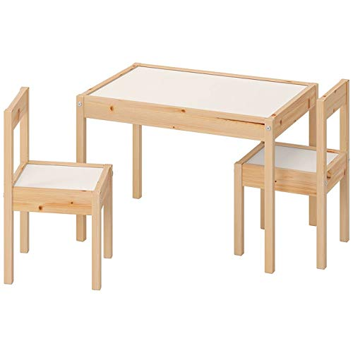 Ikea Latt-Tavolo per Bambini con 2 sedie, Bianco, Pino, Kiefer, Beige, Table with 2 Chairs