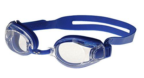 Arena Zoom X-Fit Occhialini Nuoto Anti-Appannamento Unisex Adulto, Occhialini Piscina con Ampie Lenti, Protezione UV, Ponte Nasale Regolabile, Guarnizioni in Silicone, Blu (Blue-Clear-Blue)