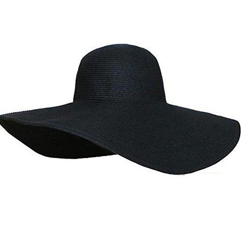 TININNA Donne delle Signore Eleganti Cappello da Sole Estate Cappello a Tesa Larga Cappello della Paglia Berretto di Visiera Nero
