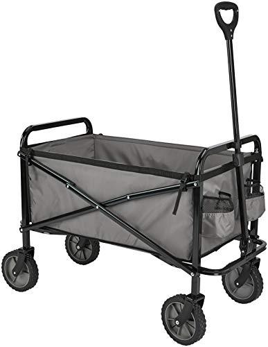 Amazon Basics - Collezione Utensili da Giardino - Carrello da giardino, pieghevole, per esterni, con borsa di custodia, grigio
