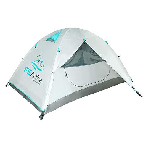 FE Active Tenda Campeggio 2 Posti - Tenda Impermeabile di Alta Qualità per 4 Stagioni Copertura Antipioggia Rip-Stop, Struttura in Alluminio per 1 o 2 Persone - Escursionismo   Disegnata in California