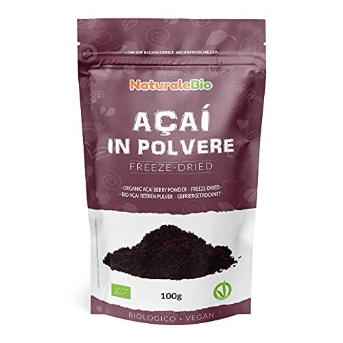 Bacche di Acai Biologiche in Polvere - Freeze-Dried - 100 gr. 100% Prodotto in Brasile, Liofilizzato, Crudo ed Estratto dalla Polpa della Bacca di Açai. NaturaleBio