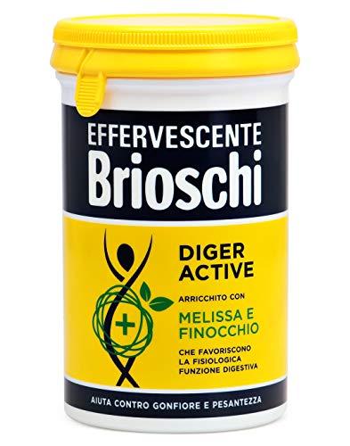 Brioschi - Compresse Effervescenti Diger Active - Digestivo con Melissa e Finocchio per Favorire la Funzione Digestiva, Aiuta contro il Gonfiore e la Pesantezza - Confezione da 150 gr