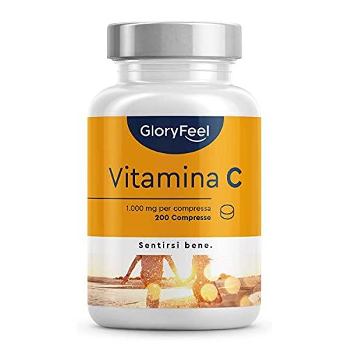 Vitamina C GloryFeel, Vitamina C 1000mg ad Alto Dosaggio, 200 Compresse Vegan (6 mesi), Vitamina C Pura Compresse, Integratore Difese Immunitarie, Vitamin C Concentrata Acido Ascorbico