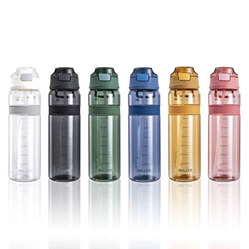 Diller Bottiglia Acqua Plastica Riutilizzabile Termica con Paglia 850ml Piccolo Grande per l'acqua a Prova di perdite Senza BPA D36 (850ml, Blu)