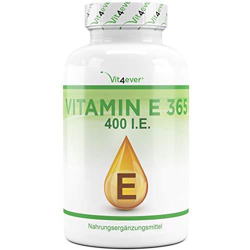 Vitamina E 400 I.E. - 365 Capsule Softgel - Premium: Vitamina E naturale dai girasoli - Fornitura per 12 mesi - Dose elevata