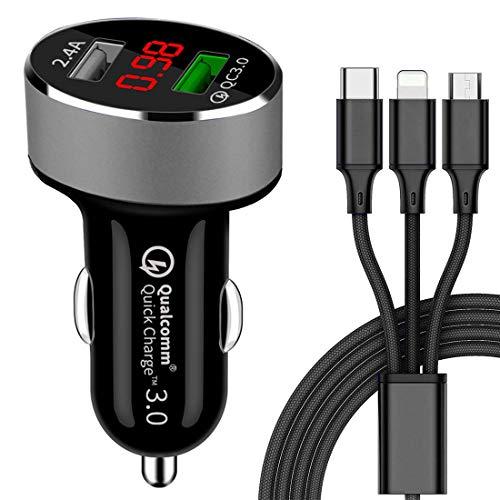 GreatCool Quick Charge 3.0 Caricabatteria per auto, Caricatore veloce, Adattatore per caricatore da auto doppio USB Con Visualizzazione Della Tensione Amperometro per Samsung iPhone Smartphone