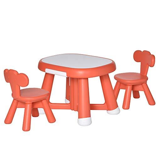 homcom Set 3 Pezzi Tavolo con 2 Sedie per Bambini 1-6 Anni, Piano di Lavoro con Lavagnetta Bianca Lavabile, Rosso