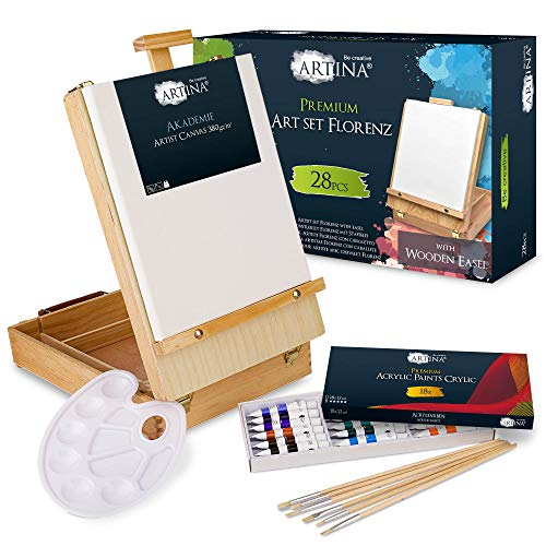 Artina Set pittura in valigetta Florenz 28 unità: cassetta e cavalletto da tavolo tela colori acrilici pennelli spatola