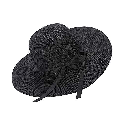 Cappelli da Sole per Donna Cappello da Spiaggia in Paglia di Bowknot a Tesa Larga a Tesa Larga Cappello Pieghevole Pieghevole UPF UV Floppy (Black)
