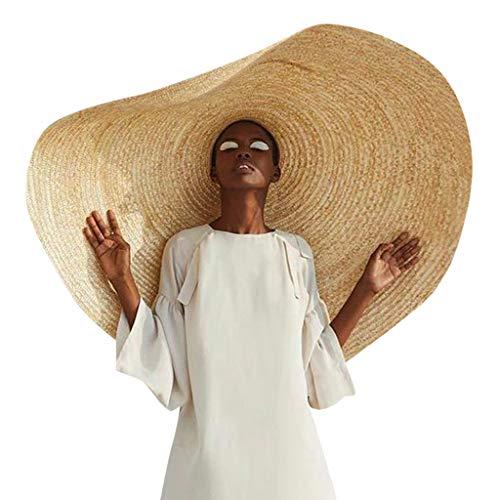 Lomsarsh Cappello Grande Donna,Moda Cappello Grande Fotografia Oversize Pieghevole Parasole Spiaggia Cappello di Paglia - Grande Cappello Tesa Larga da Sole Donna Estate Cappello da Spiaggia